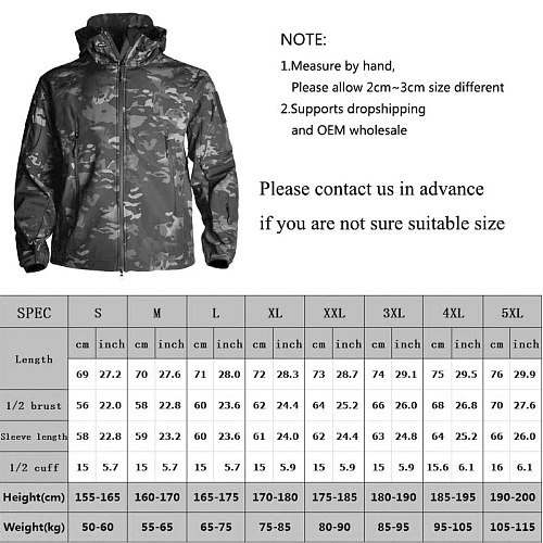 HAN WILD Clothing Autumn Men's Military Camouflage Fleece Jacket Army Tactical Clothing  Multicam Male Camouflage Windbreakers
