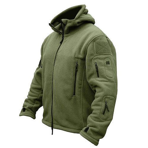 Tactical Jacket for Men Outdoor Hiking Camping Hunting Hoodie Solid Color Coat Breathable Waterproof Thermal Black Zipper