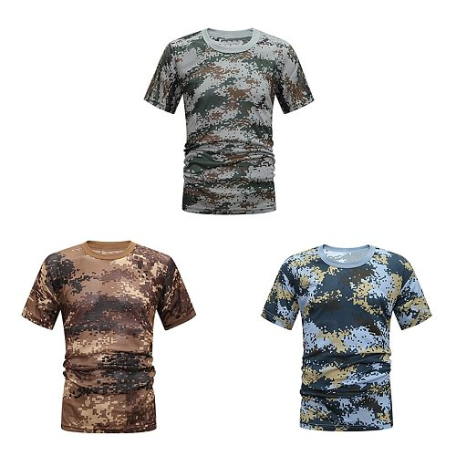 Tactical Camouflage Shirt Hunting Camo Shirt Breathable Quick Drying Loose Casual Tee Tops Apparel Tights Army Men Women.