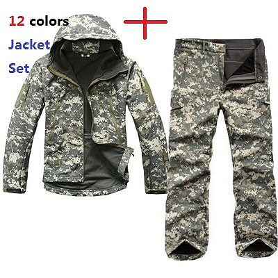 Men Outdoor Sport TAD Gear Soft Shell Camouflage Tactical Jacket Set Army Waterproof Hunting Clothes Coat Military Jacket Pants