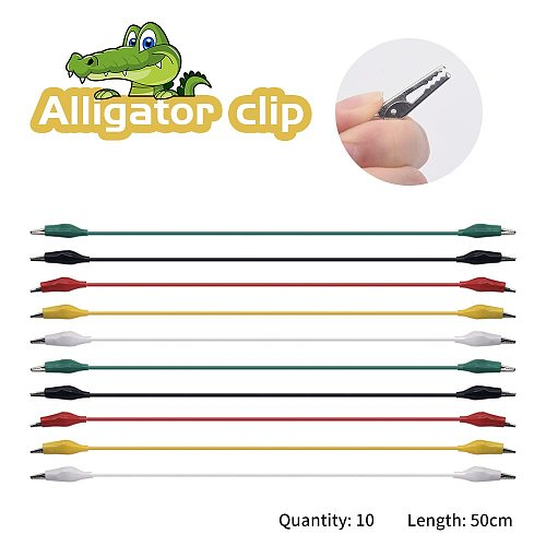 10pcs 50CM  Alligator Clips Wries Electrical DIY Test Leads Alligator Double-ended Crocodile Clips Roach Clip Test Jumper Wire