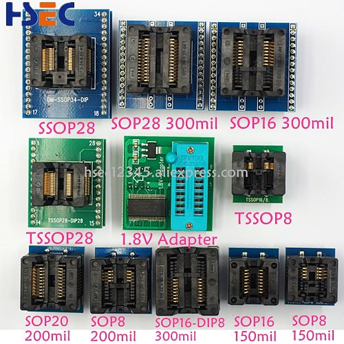 100% Original   TL866II Plus Universal Minipro Programmer with Adapters+test Clip TL866 PIC Bios High speed Programmer