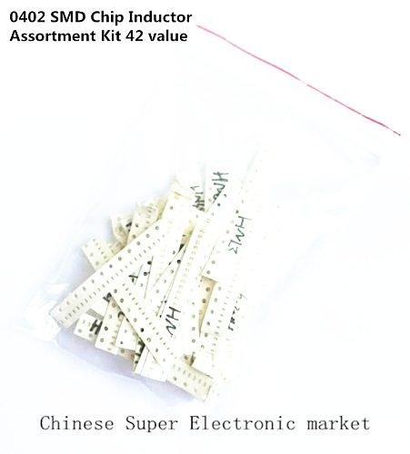 0402 SMD Inductor Assorted Kit 42ValuesX25pcs 1NH 2.2NH 3.3NH 4.7NH 10NH 15NH 22NH 47NH 68NH 100NH 220NH 2.2uh Inductors Set