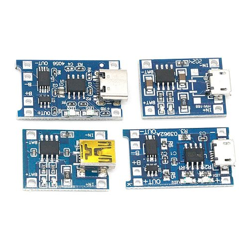 5pcs Micro/Type-c USB 5V 1A 18650 TP4056 Lithium Battery Charger Module Charging Board With Protection Dual Functions 1A Li-ion