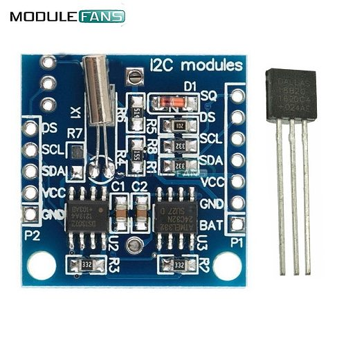 DS18B20 Temperature Sensor Module +I2C IIC RTC DS1307 AT24C32 Real Time Clock Module For Arduino AVR ARM PIC UNO Module