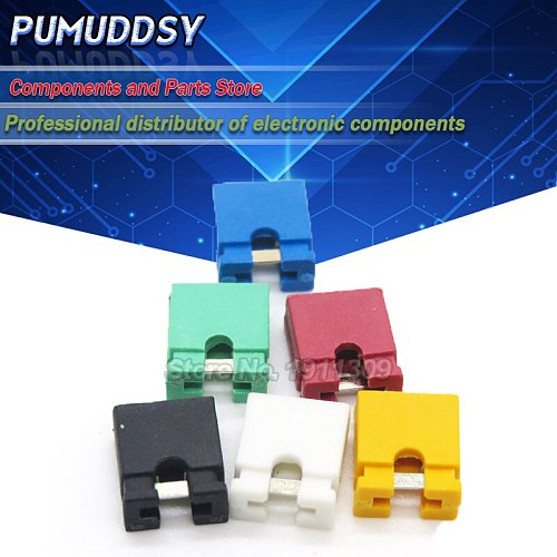 100PCS Pitch jumper shorted cap & Headers & Wire Housings 2.54MM Black yellow white green red blue