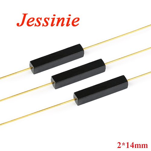 100PCS Plastic Type Reed Switch 2*14mm Normally Open Magnetic Control Switch GPS-14A Anti Vibration/Damage Contact For Sensor NO