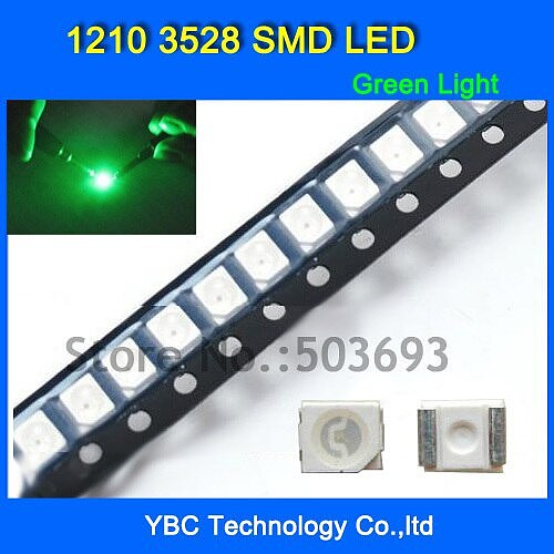 1000pcs/lot 1210 3528 SMD LED Ultra Bright Green Light Diode Wholesale Retail Dropship