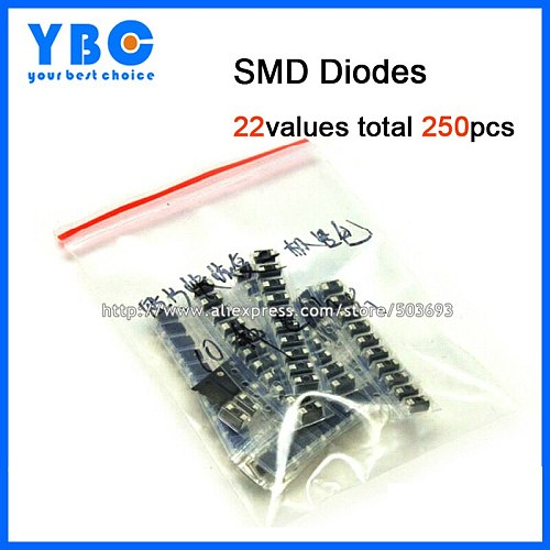 22values total 260pcs M1 M2 M4 M7 S2M RS1M US1M ES1D SS14 SS110 SS34 LL4148 etc. Rectifier Diodes Assorted Kit