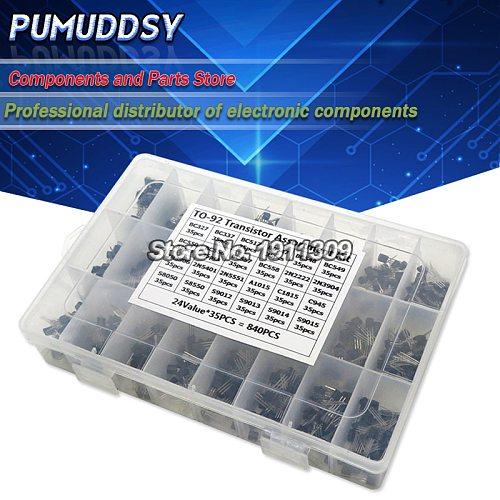 840PCS 24Values TO-92 Transistor Assortment Kit BC327 BC337 BC547 transistor 2N2222 3904 3906 C945 transistors pack
