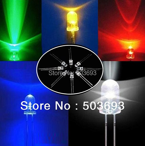 5colors each 100pcs total 500pcs  UltraBright Red/Green/Blue/White/Yellow Ultra Bright 5mm Round LED Diode