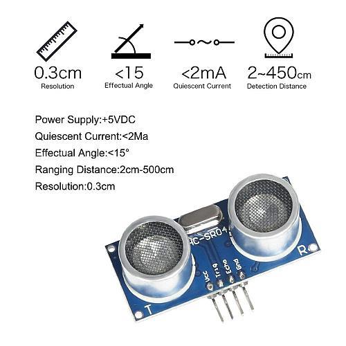Ultrasonic Sensor Module HC-SR04 Distance Sensor with Mounting Bracket for Arduino UNO Mega R3 Mega2560 Rapsberry Pi 3