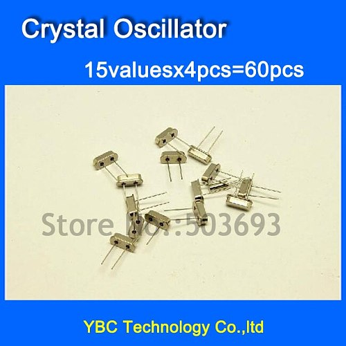 15valuesX4pcs=60pcs Crystal Oscillator Pack Kit 4M 6M 8M 10M 12M 16M 20M 24M 25M 48M