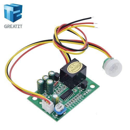 GREATZT DC 12V PIR IR Pyroelectric Infrared Module Adjustable Relay Output Human Body Sensor For Arduino