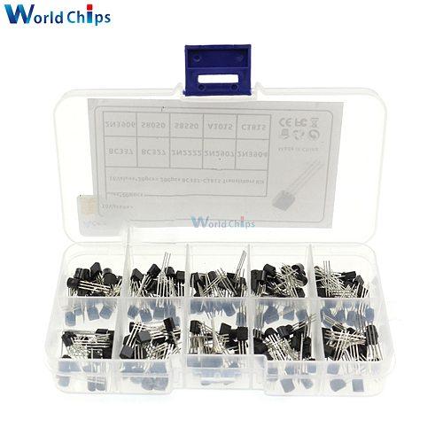 200PCS/set 10 Values TO-92 Transistor Assortment Kit BC337 BC327 2N2222 2N2907 2N3904 2N3906 S8050 S8550 A1015 C1815 PNP/NPN