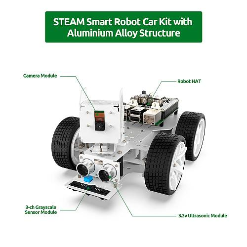SunFounder Raspberry Pi Smart Video Robot Car Kit,Support Ezblock visual programming/ Python Programming Electronic DIY Robot Ki