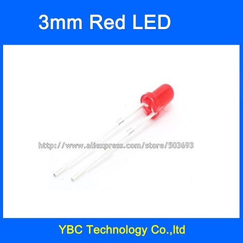 1000pcs 3mm Ultra Bright Round Red Light Red LED Diode