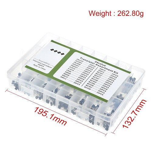 840pcs/set 24Values TO-92 Transistor Assortment Kit BC327 BC337 BC547 transistor 2N2222 3904 3906 C945 PNP/NPN transistors pack