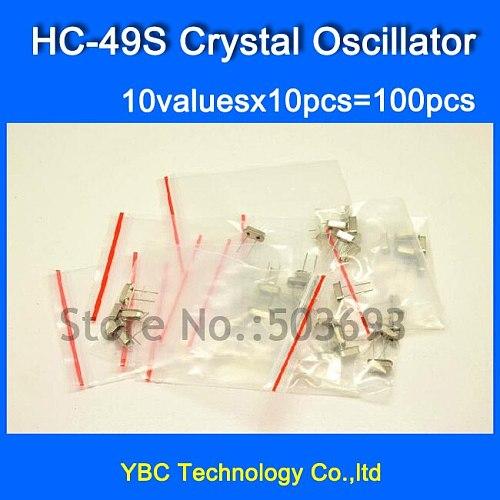 HC-49S Crystal Oscillator Pack 10valuesX10pcs=100pcs HC 49S 6M 8M 10M 11.0592M 12M 16M 24M 24.576M 25M 40M