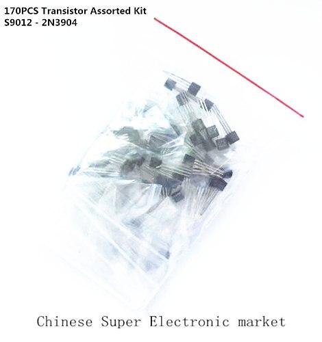 170PCS Transistor Assorted Kit S9012 S9013 S9014 9015 9018 A1015 C1815 A42 A92 2N5401 2N5551 A733 C945 S8050 S8550 2N3906 2N3904