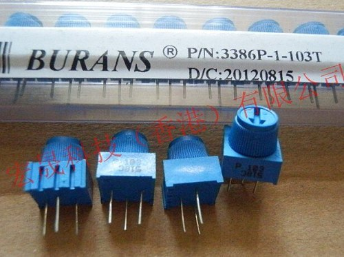 50PCS/LOT 3386P-1-203  3386P-1-203TLF  TRIMMER 20K OHM 0.5W PC PIN Trimpot potentiometer 20K ohm with Knob  3386P-1-203LF