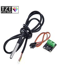 DS18B20 Temperature Sensor Module Kit Waterproof 100CM Digital Sensor Cable Stainless Steel Probe Terminal Adapter For Arduino