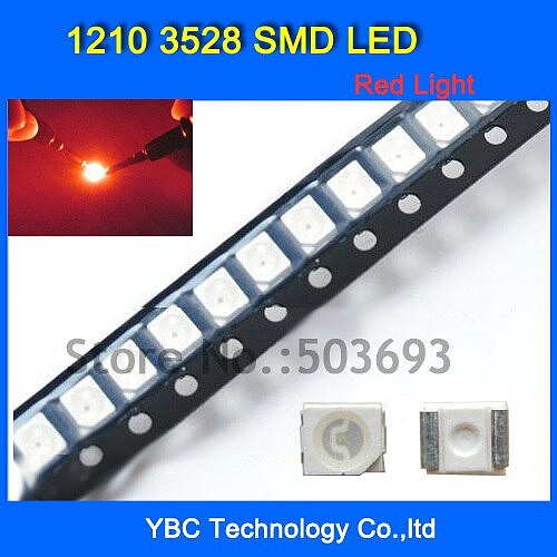 1000pcs/lot 1210 3528 SMD LED Ultra Bright Red Light Diode Wholesale Retail Dropship