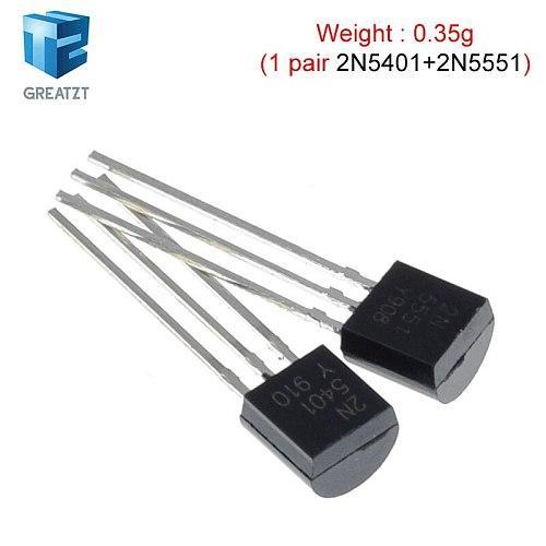 GREATZT 50pcs/lot Transistor DIP 2N5551 2N5401 5551 5401 TO-92 (25PCS* 2N5401+25PCS* 2N5551 )