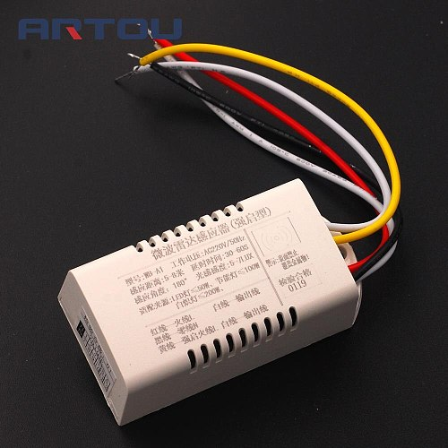 220V Microwave Radar PIR Motion Sensor Switch IR Infrared Human Body Induction Detector Controller Switch Automatic for LED Lamp