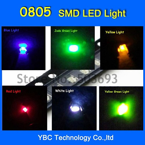 6valuesx40pcs=240pcs 0805 LED SMD Ultra Bright Red/Green/Blue/White/Yellow LED Diode Light