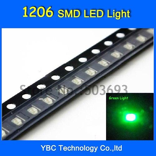 3000pcs/lot Jade Green Light 1206 LED SMD Ultra Bright  LED Diode