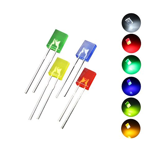 100pcs/lot 2x5x7 Square LED Emitting Diode Lamp White Red Green Blue Yellow Orange  DIY Indicator