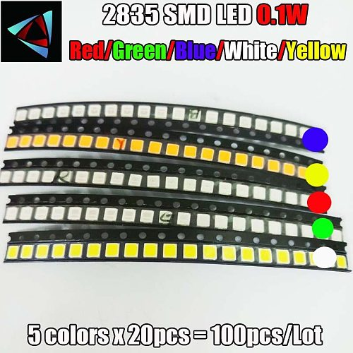 100pcs 2835 0.1W SMD LED 5 colors x 20pcs Diodes SMD LED 2835 Light Emitting Diode RED / Yellow / Green / White / Blue