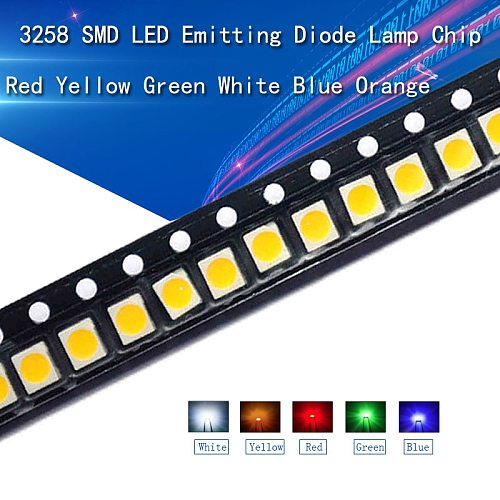 100pcs 3528 SMD LED White Red Yellow/Blue/Green/Orange/Purple/RGB High Light Emitting Diode Kit PCB DIY