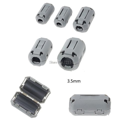 3.5mm Gray Ferrite Core Cord Ring Choke Bead RFI EMI Noise Suppressor Filter for Power Cord USB Cable Antenna Audio Cable