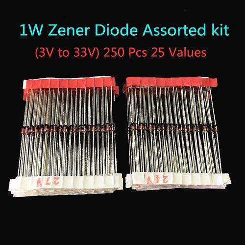 1W (3V to 33V) 250 Pcs 25 Values 1W Zener Diode Assorted kit Assortment Set New