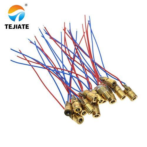 10pcs laser diode 650nm 6mm 5V 5mW Adjustable Laser Dot Diode Module Red Copper Head 3v