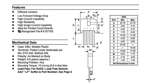 10PCS KBU810 KBU-810 8A 1000V diode bridge rectifier new and original IC Free Shipping
