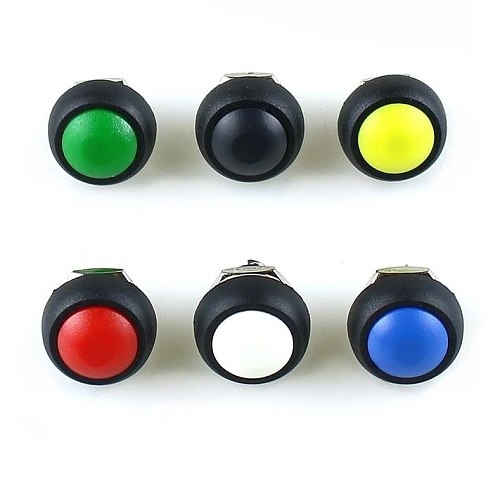 10pcs/lot PBS-33B 12mm Mini Switch 2Pin 1A 250V Waterproof Momentary button Switch Red Black Green Yellow White Blue PBS33B