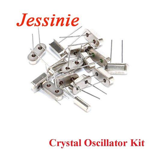 15pcs Crystal Oscillator Assortment Kit Mini Passive Resonator Quartz HC-49S For 11.0592M 12M 32.768K 16M 15 Values*1pcs