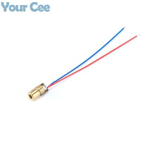 50pcs 650nm 6mm DC 5V 5mW  Laser Dot Diode Module Red Copper Head