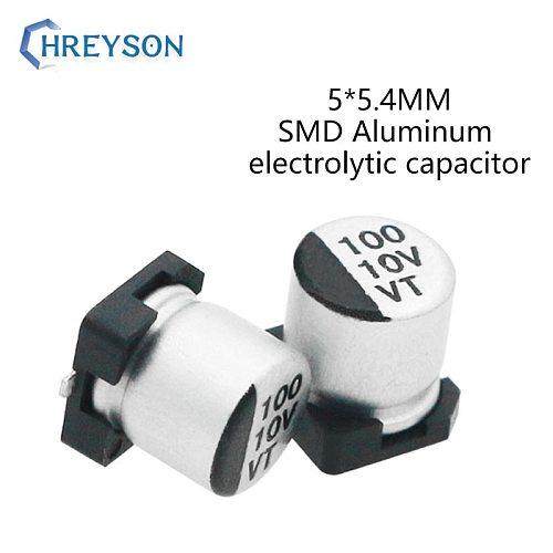 50Pcs 5*5.4 SMD Aluminum Electrolytic Capacitor Kit 16V 25V 35V 50V 63V 10V 100UF 47UF 33UF 22UF 10UF Full Values Assorted Sets