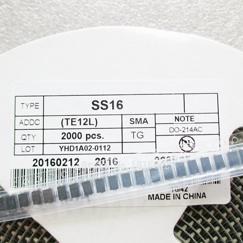 100PCS/LOT SS16 SMA SMD DO-214AC Schottky Diode ss16 SR160