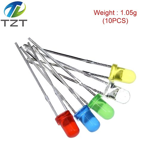 1Color=100pcs F3 3mm LED Diode Light Assorted Kit Green Blue White Yellow Red COMPONENT DIY kit