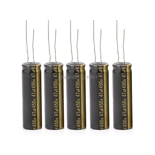 5pcs 450V 47UF Aluminum Electrolytic Capacitors For LCD TV LED 13x42mm Dropship