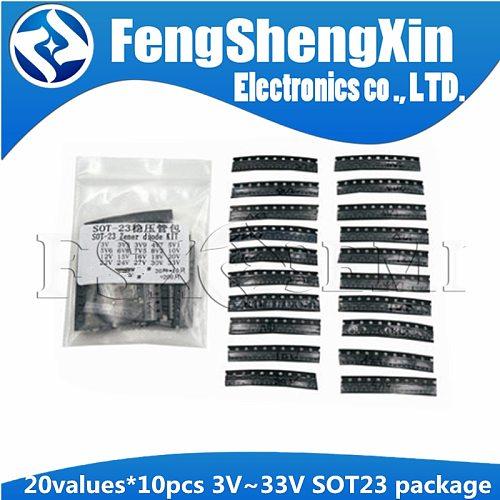 20values X10pcs=200pcs 3V~33V Zener diode SOT23 package Samples ki KIT 3V3  3V9 4V7  5V1  5V6 6V8 7V5 8V2 10V 12V 15V