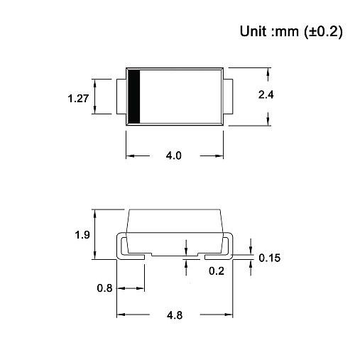 (100 Pcs) SS16 SMD Schottky Barrier Rectifier Diodes 1A 60V SMA (DO-214AC) 1 Amp 60 Volt