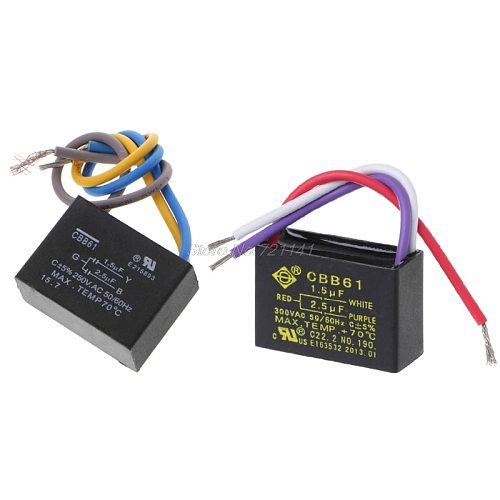 Black CBB61 1.5uF+2.5uF 3 Wires AC 250V 50/60Hz Capacitor For Ceiling Fan Dropship