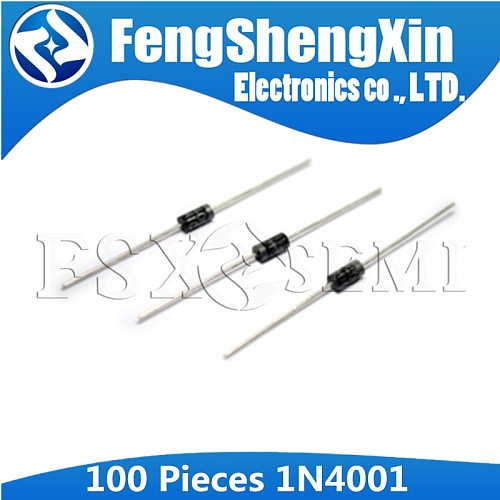 100pcs/lot New 1N4001 IN4001 1A 50V DO-41 Rectifier Diode