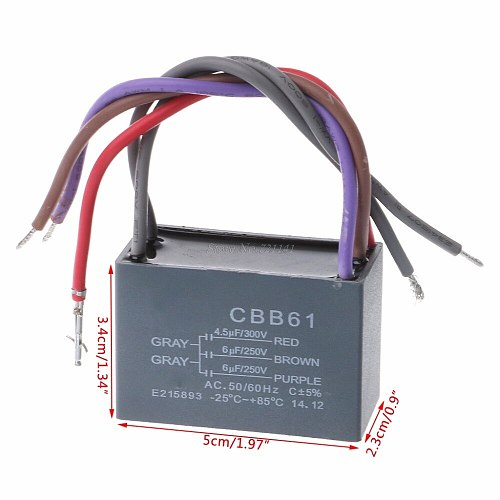CBB61 Ceiling Fan Capacitor 4.5uf+6uf+6uf 5 Wire 250V 5 Speed Starting Capacitor Dropship